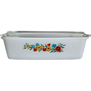 "Fire-King ""Spring Wreath"" Loaf Pan w/Lid"