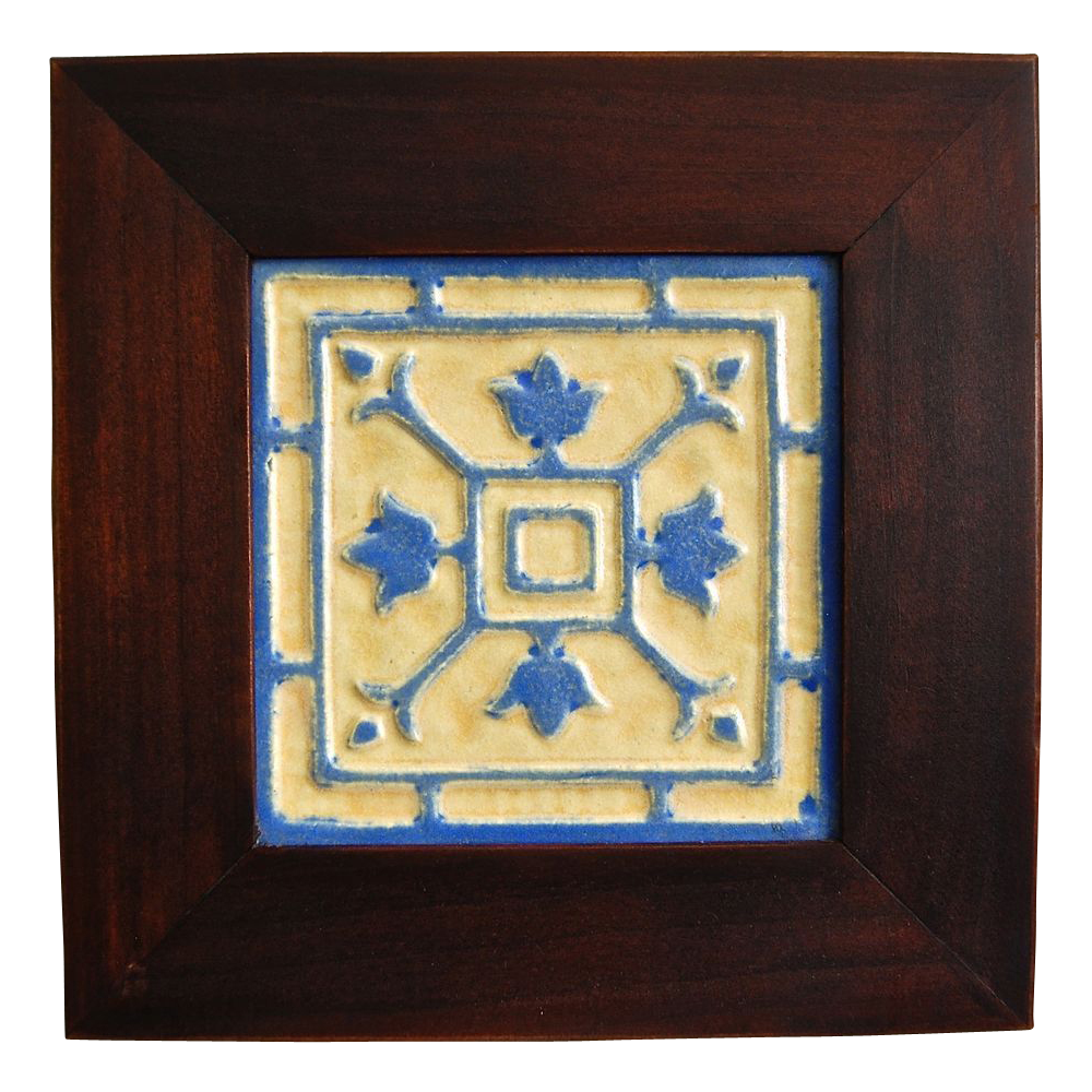 Arts crafts style framed tile from for Arts and crafts style prints