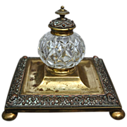 Victorian Cut Glass & Brass Inkwell