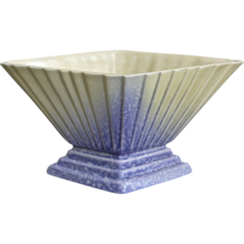 English Modernist Pottery Fan Vase, Lavender and Cream
