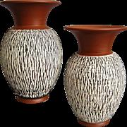Wekara Germany Sgraffito Vases, Pair, Circa 1950's