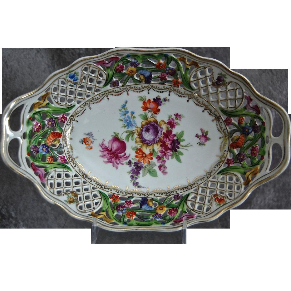Schumann Bavaria Dresden Floral Bowl, Circa 1940