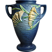 "Roseville Pottery Freesia Vase #121-8"", Blue, Circa 1945"