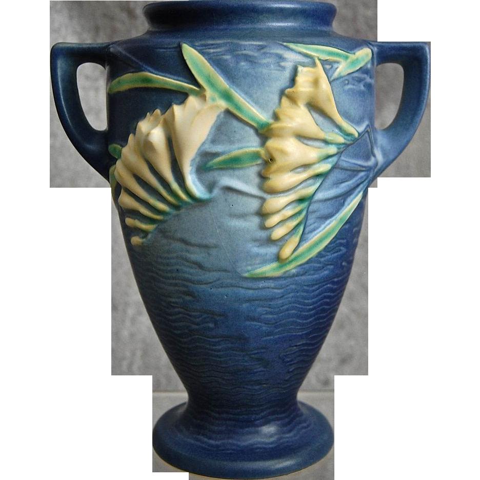 Roseville Pottery Freesia Vase 121 8 Blue Circa 1945