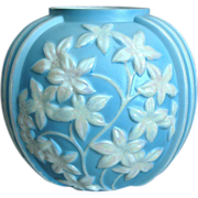 Phoenix Sculptured Artware Starflower Vase, Blue Pearlized, Ca. 1936