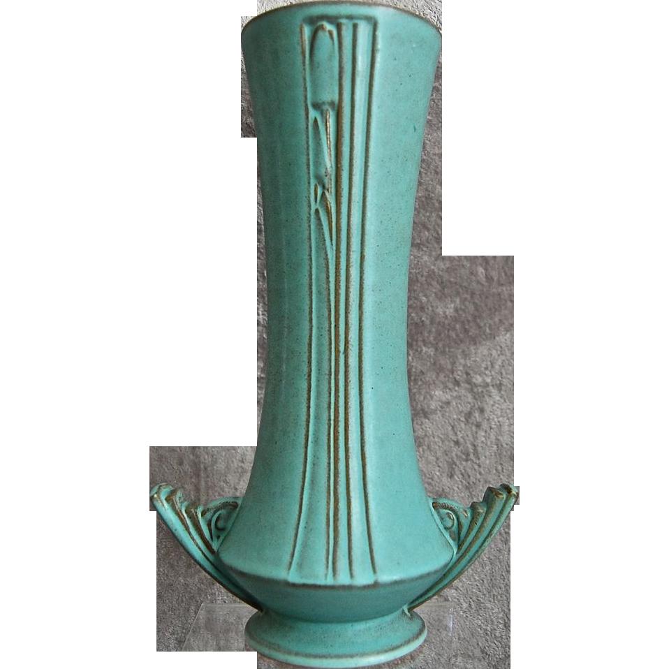 roseville pottery moderne vase 800 10 turquoise ca 1936 from rubylane sold on ruby lane. Black Bedroom Furniture Sets. Home Design Ideas