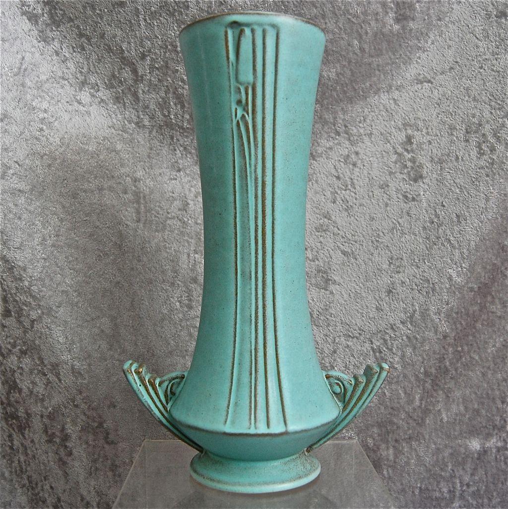 roseville pottery moderne vase 800 10 turquoise ca. Black Bedroom Furniture Sets. Home Design Ideas
