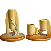 Roseville Pottery Ixia Candleholders, Yellow, Ca. 1937