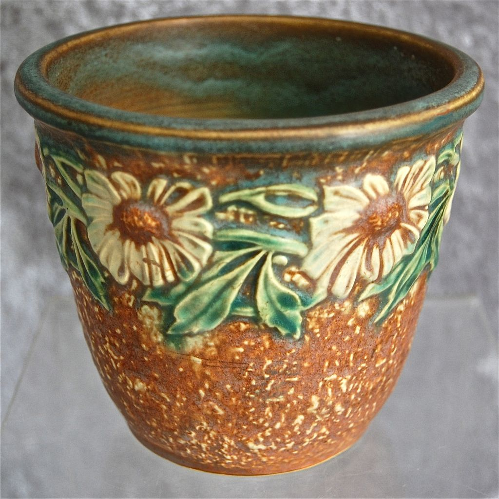 "Roseville Pottery Dahlrose 4"" Flower Pot, Circa 1928 SOLD"