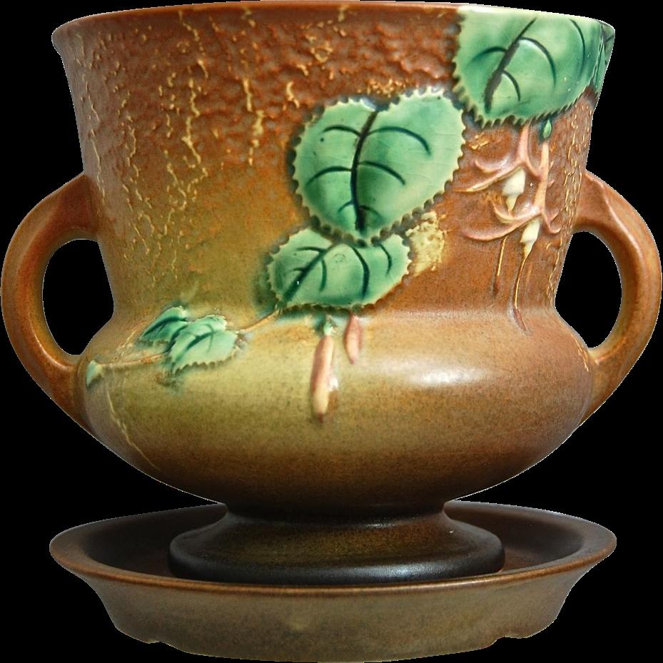 Roseville Pottery Fuchsia Flower Pot W/Saucer #646-5