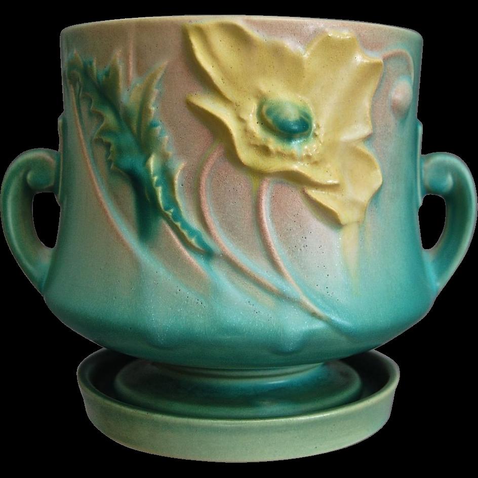 """Roseville Pottery Poppy Flower Pot W/Saucer #643-5"""", Green"""