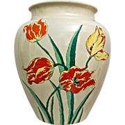 "Large ""American Satsuma"" Vase w/Tulips, 1929 - Red Tag Sale Item"