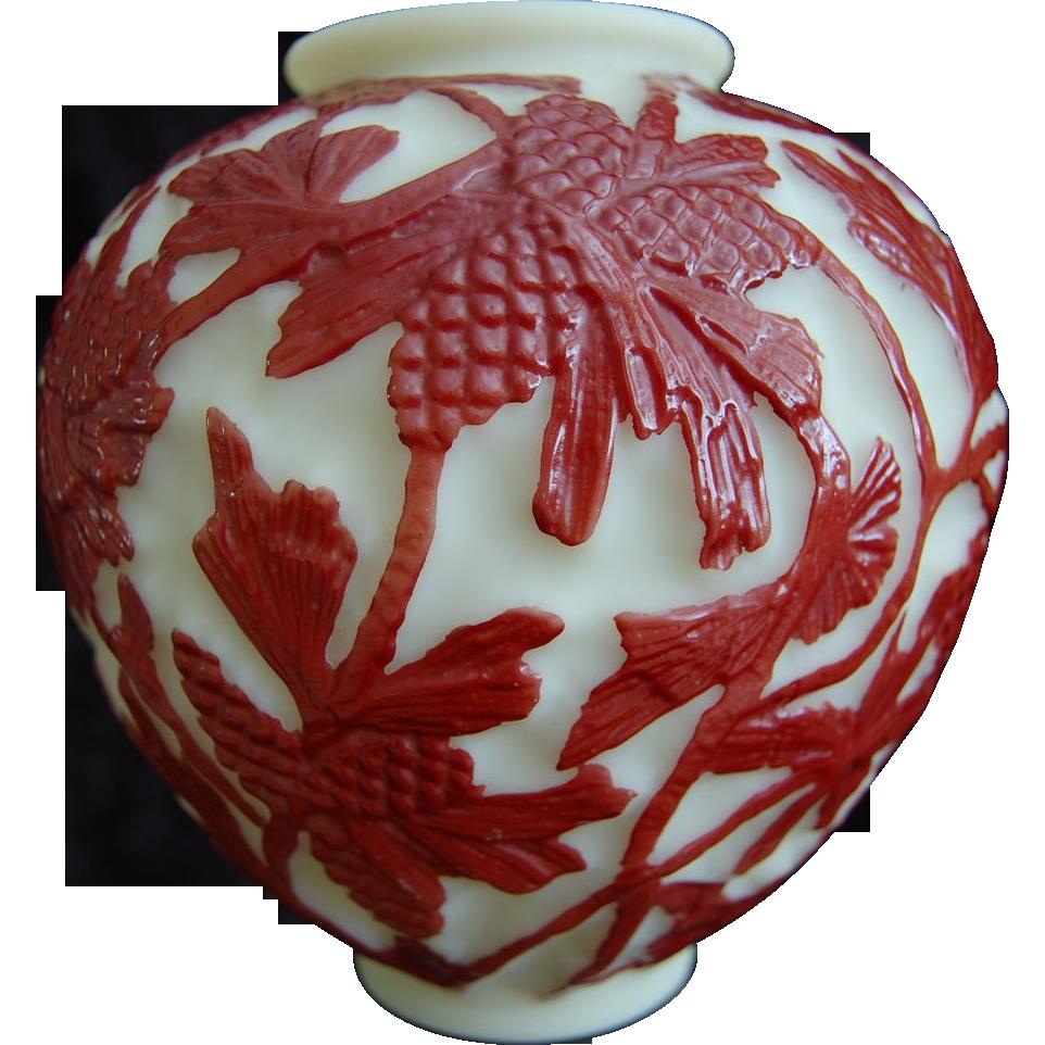 Consolidated Martele' Pine Cone Vase, Ca. 1928, Rare Color!