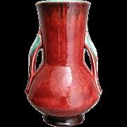"Roseville Pottery Orian Vase #736-8"", Red, Circa 1935"