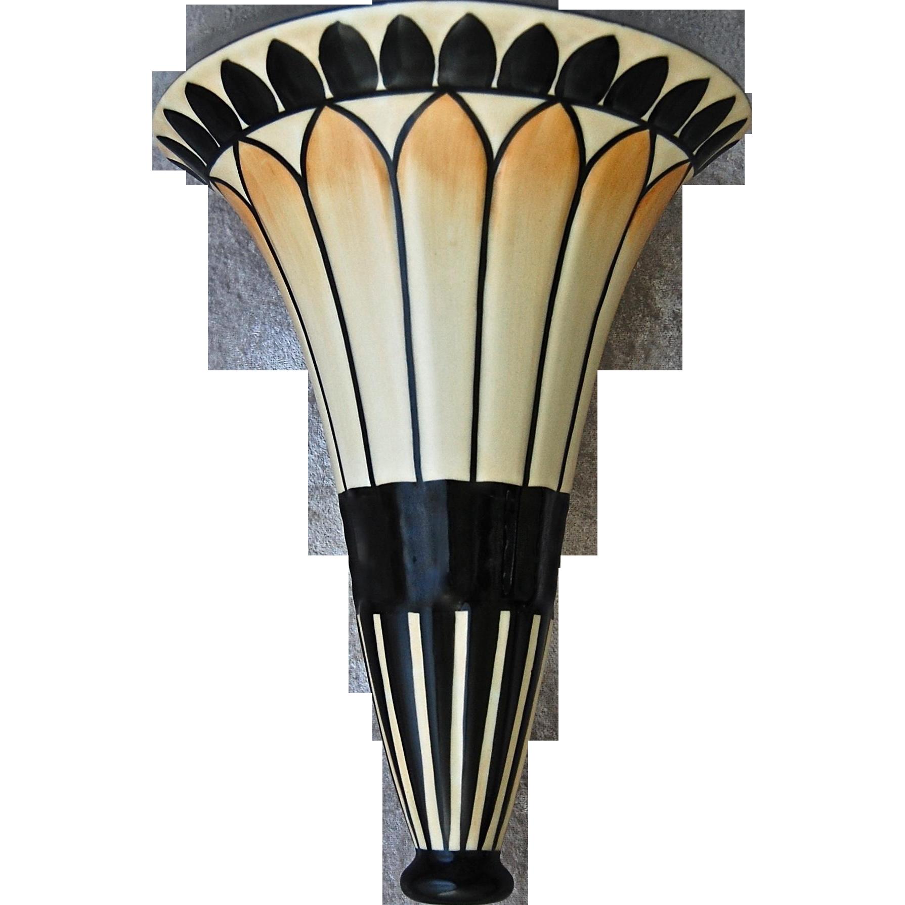 large art deco porcelain wall vase from rubylane sold on. Black Bedroom Furniture Sets. Home Design Ideas
