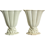 Cowan Pottery Small Seahorse Fan Vase Pair, Ivory, Ca. 1926