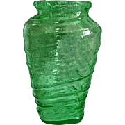 """Consolidated Catalonian Triangle Vase #1101-10"""", Emerald Green, Ca. 1929"""