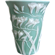 Phoenix Glass Sculptured Artware Freesia Vase, Green Cameo, Circa 1934