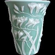 Phoenix Glass Sculptured Artware Freesia Vase, Green Cameo, Circa 1934 - Red Tag Sale Item