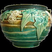 "Roseville Pottery Luffa Jardiniere #681-7"", Green, Circa 1934"