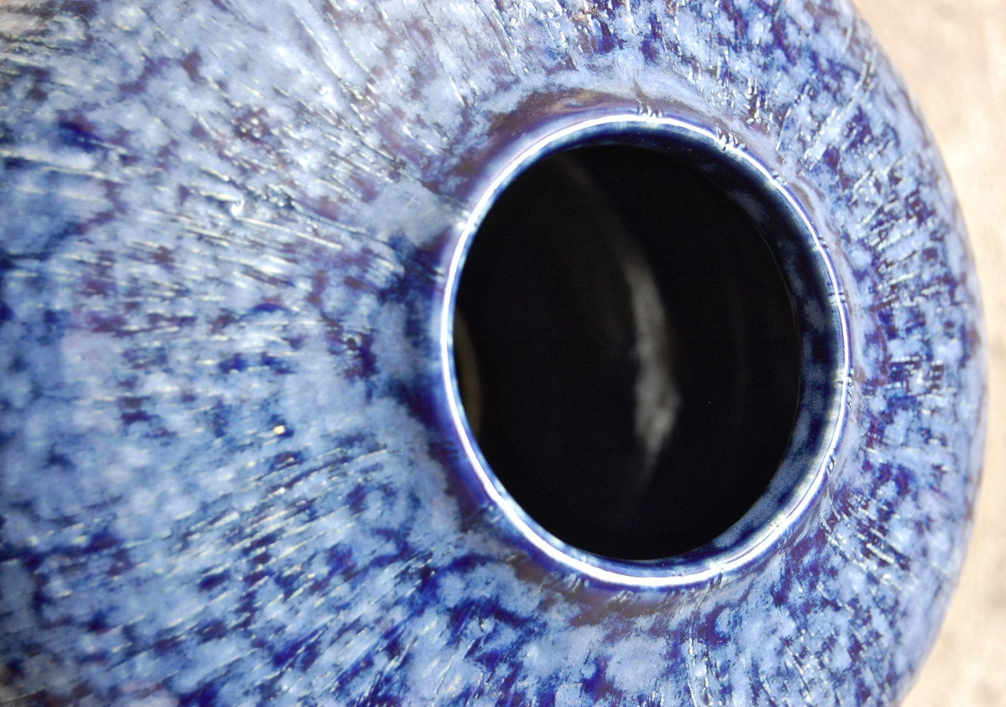 Studio Pottery Vase, Blue Striated Glaze from ...