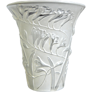 Phoenix Glass Sculptured Artware Freesia Vase, White, Circa 1934