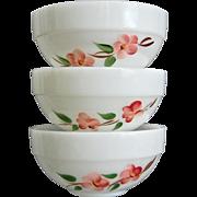 "Fire-King Peach Blossom 6"" Bowls, Set of 3"