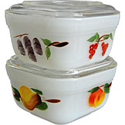 Fire-King Vintage Fruit Refrigerator Dishes, Set of 2