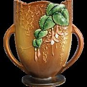 "Roseville Pottery Fuchsia Pillow Vase #896-8"", Brown, Ca. 1938"