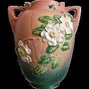 """Roseville Pottery White Rose Vase #991-12"""", Pink, Circa 1940"""