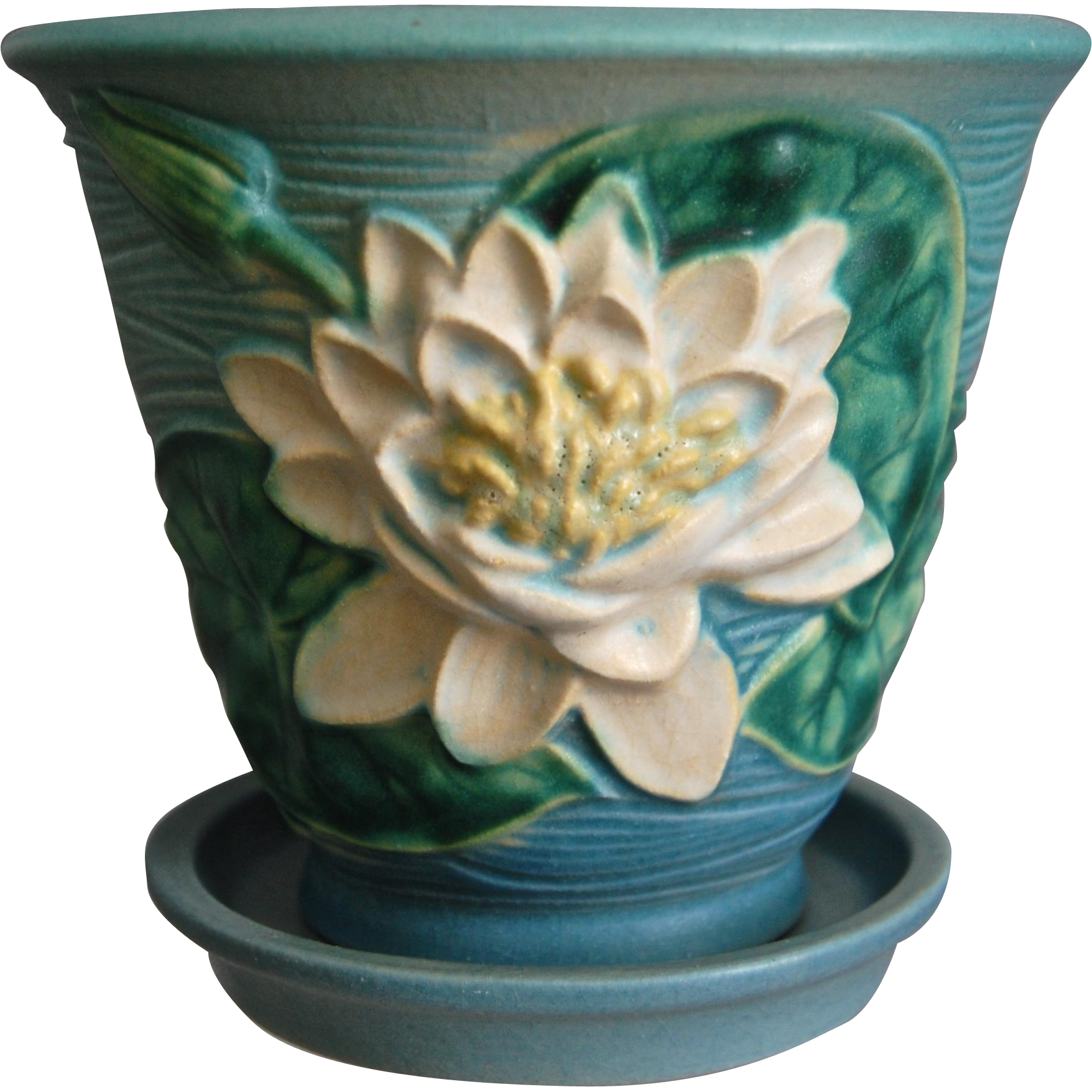 Roseville Pottery Water Lily Flower Pot W/Saucer #664-5