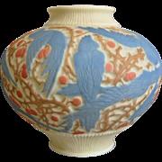 Consolidated Martele' Cockatoo Vase, Blue Tri-Color, Circa 1926
