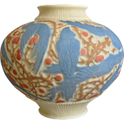 Consolidated Martele' Cockatoo Vase, Blue Tri-Color, Circa 1926