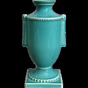 """Trenton Potteries Company 8"""" Urn Vase, Turquoise, Circa 1938"""