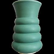 Machine Age Pottery Vase, Matte Green
