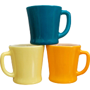 Fire King Colorful Mug Trio, Circa 1960's