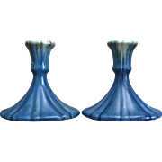 "Roseville Pottery Tourmaline Candlesticks #1089-4.5"", Blue, Circa 1933"