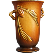 "Roseville Pottery PineCone Vase #838-6"", Brown, Circa 1936"
