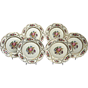 "Rosenthal Luncheon Plates, ""Queens Bouquet"", Set of 6, Circa 1940"