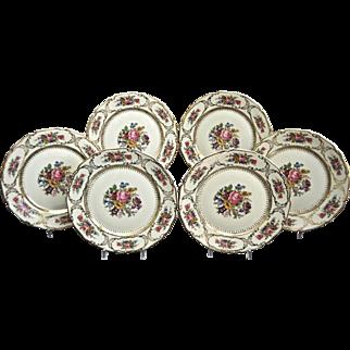 "Rosenthal Luncheon Plates, ""Queens Bouquet"", Set of 6, Circa 1940"