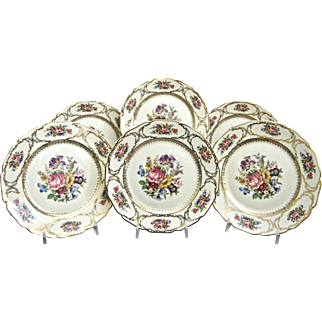 "Rosenthal Salad Plates, ""Queens Bouquet"", Set of 6, Circa 1940"