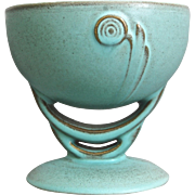 Roseville Pottery Moderne Footed Bowl #295, Turquoise, Circa 1936