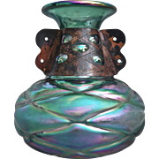 Bohemian iridescent Glass Vase w/Copper Band, c 1920