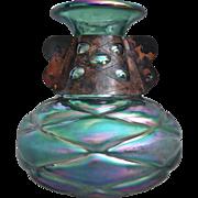 Bohemian iridescent Glass Vase w/Copper Band, c 1920