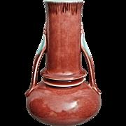 """Roseville Pottery Orian Vase #735-7"""", Red, c. 1935"""