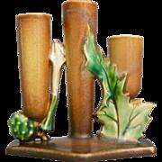Roseville Pottery ThornApple Triple Candelabra #1120, Brown, c. 1937