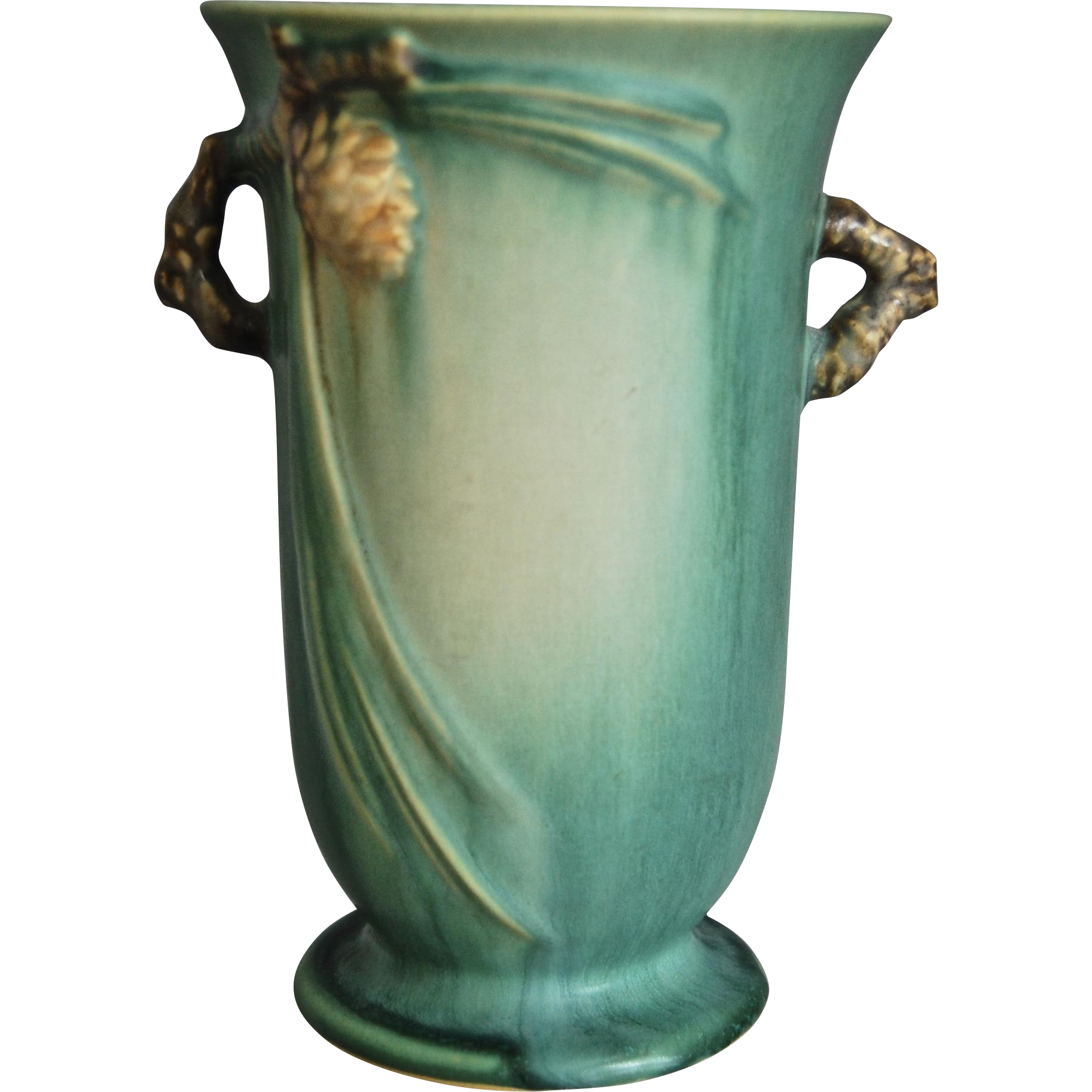 Roseville Pottery Pinecone Vase 838 6 Green C 1936 From Thedevilduckcollection On Ruby Lane
