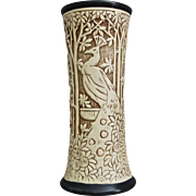 "Weller Pottery Ivory 12"" Vase, Peacocks, c 1914"