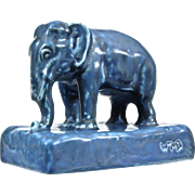 Rookwood Pottery Elephant Paperweight #2797, Blue Mat, 1930