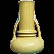 """Roseville Pottery Orian Vase #735-7"""", Yellow, c. 1935"""